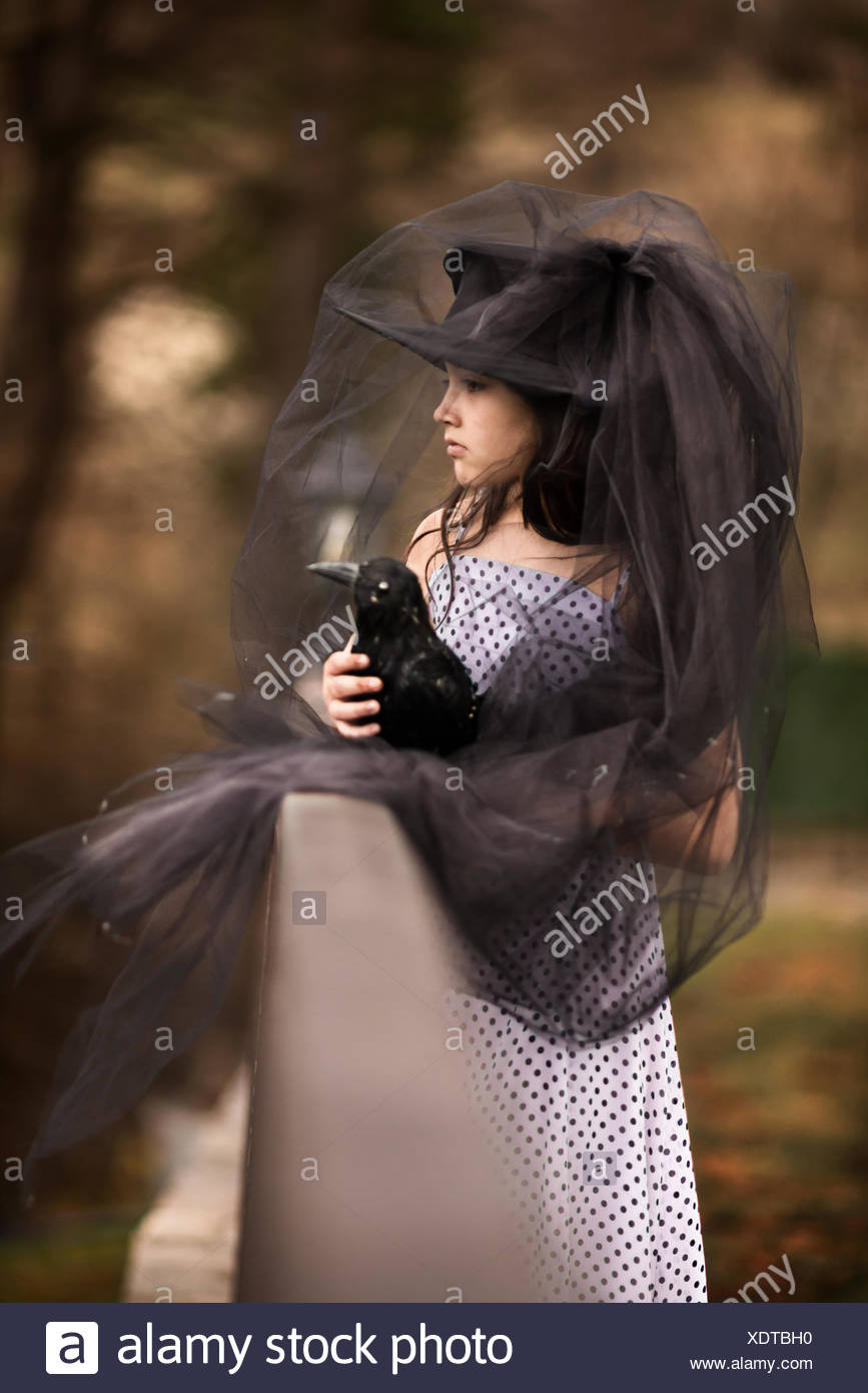 Girl in a black veil  holding a stuffed black bird - Stock Image