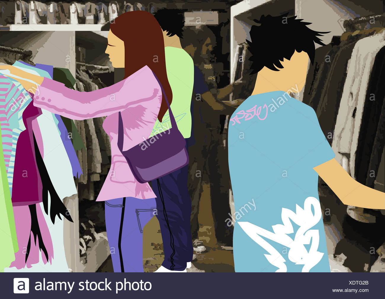 Illustration boutique people young clothing chooses department store business shopping centers woman handbag men shops shopping - Stock Image