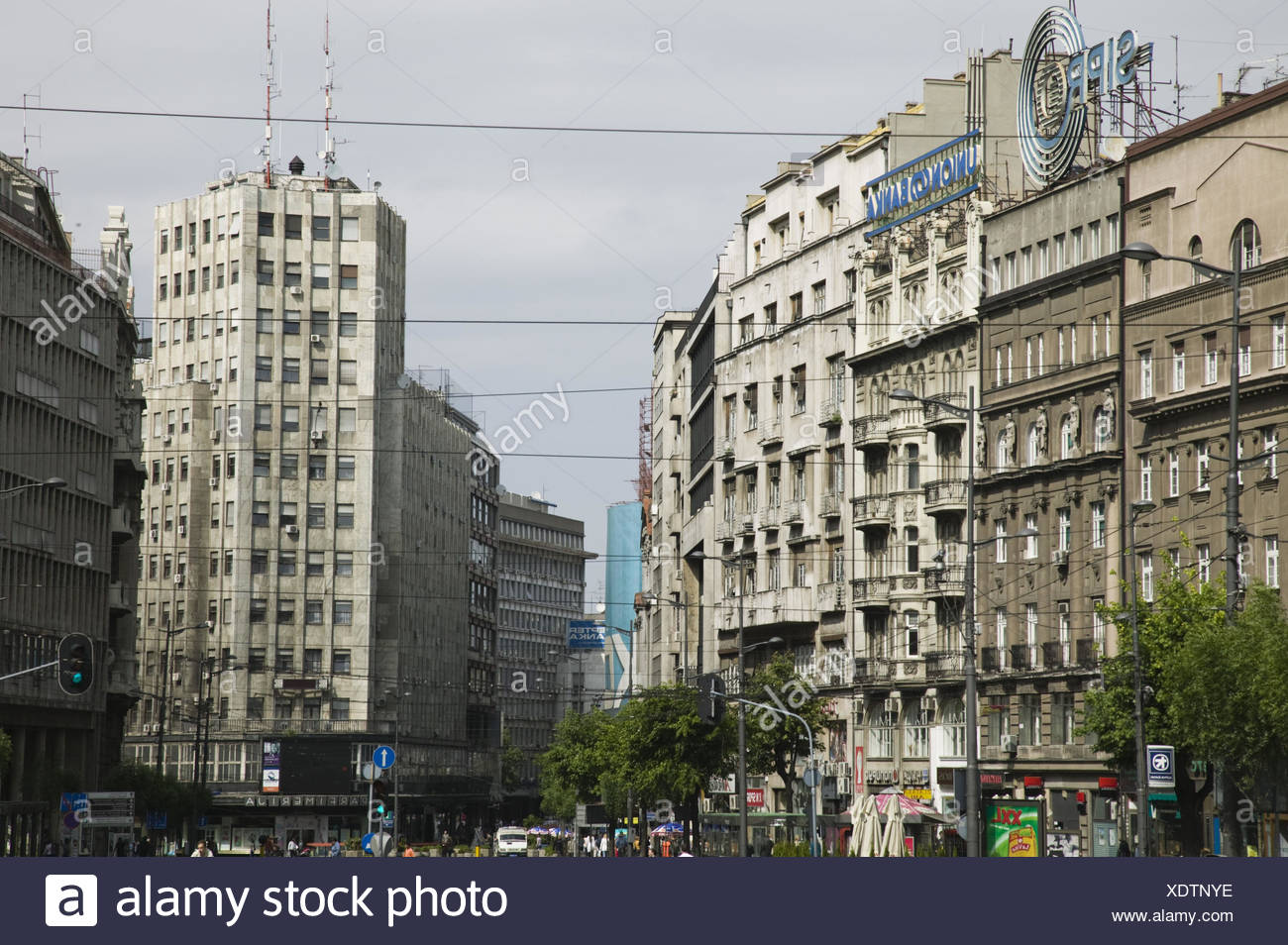 Serbien, Belgrad, Terazije, Albanien Hochhaus, - Stock Image