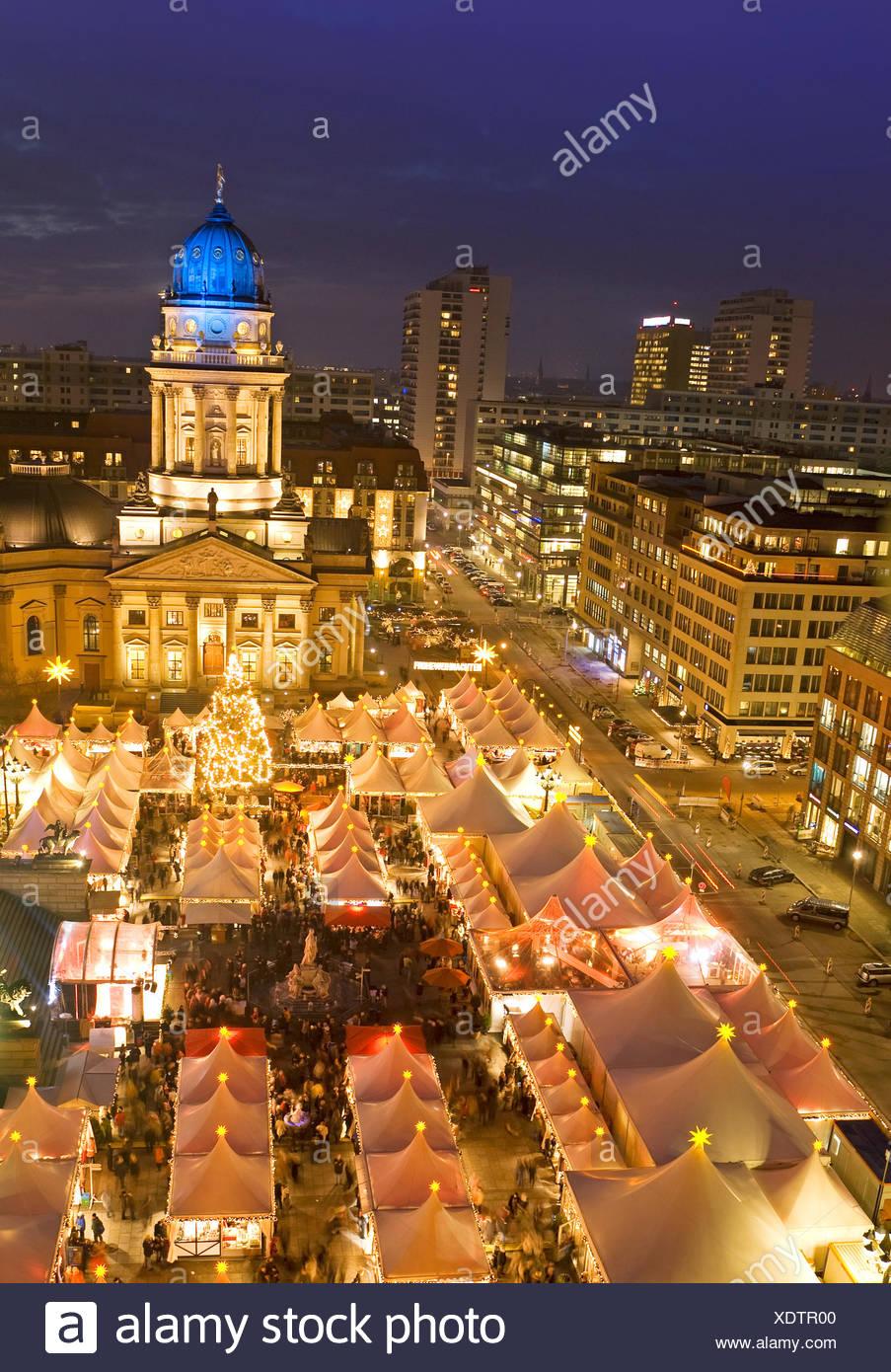christmas market on gendarmenmarkt berlin germany - Stock Image