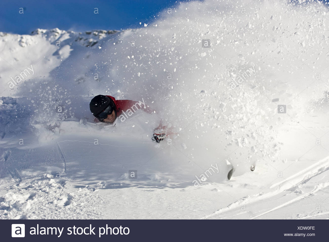 Fall, Lintel, skiing, risk, sport, injury, violation, skiing, man, fall, ski, ski accident, accident, casualty, powder snow, sno - Stock Image