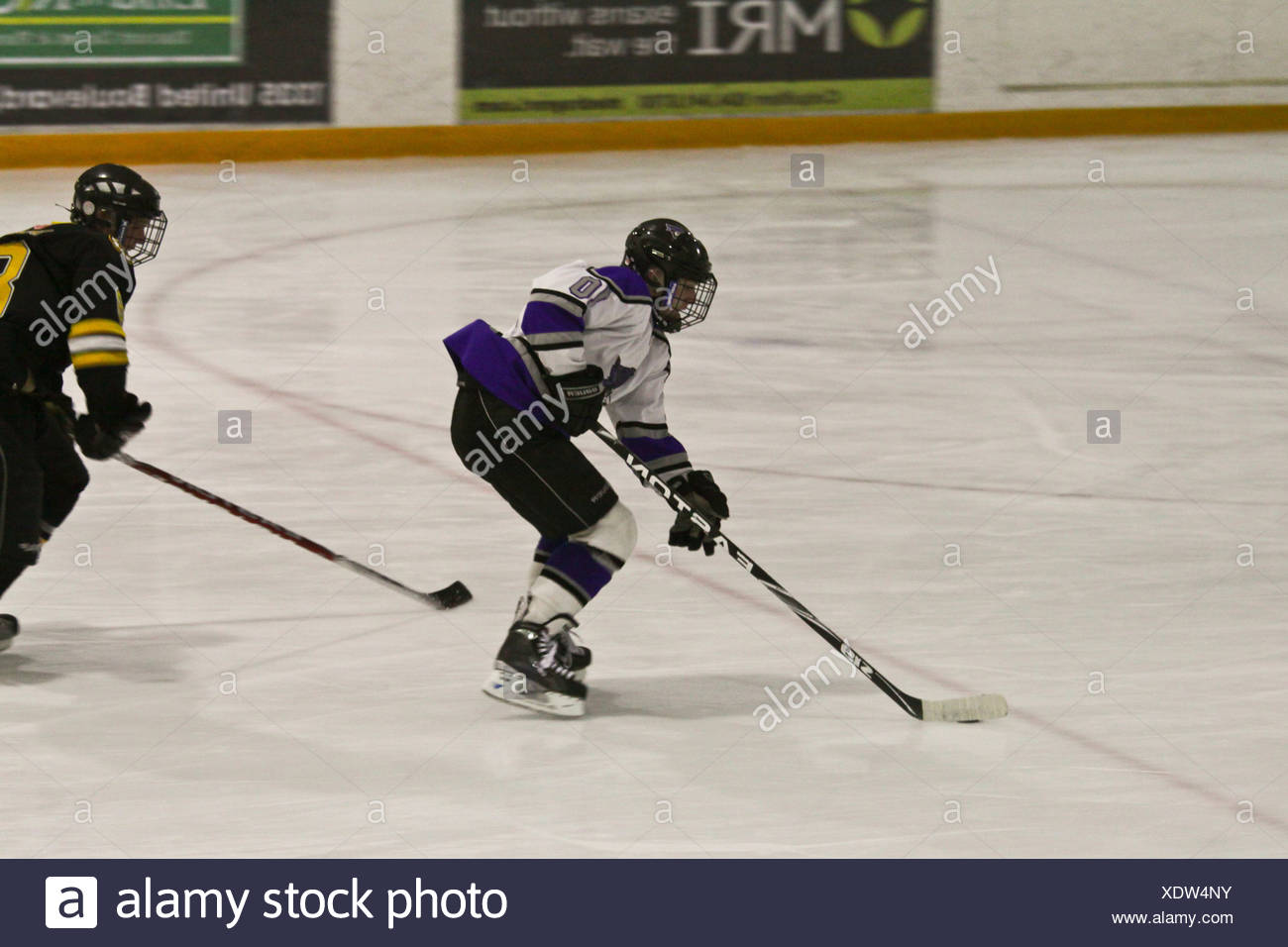 Breakaway - player racing to the net at a local minor league hockey game - Stock Image