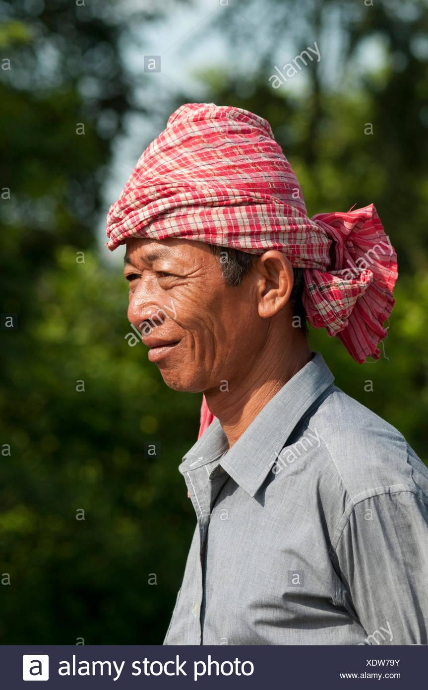 Khmer man wearing a kroma, a traditional headcloth, Battambang, Cambodia, Southeast Asia, Asia - Stock Image