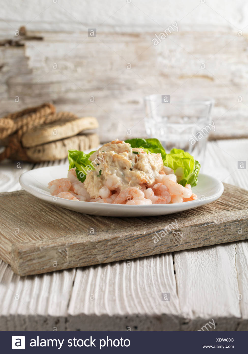 Prawn and crabmeat cocktail with little gem lettuce - Stock Image
