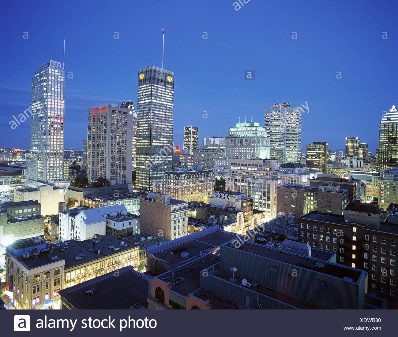 Kanada, Provinz Quebec, Montreal,  Stadtansicht, Dämmerung  Canada, Häuser, Gebäude, Hochhäuser, Wolkenkratzer, Downtown, Ansicht, außen - Stock Image