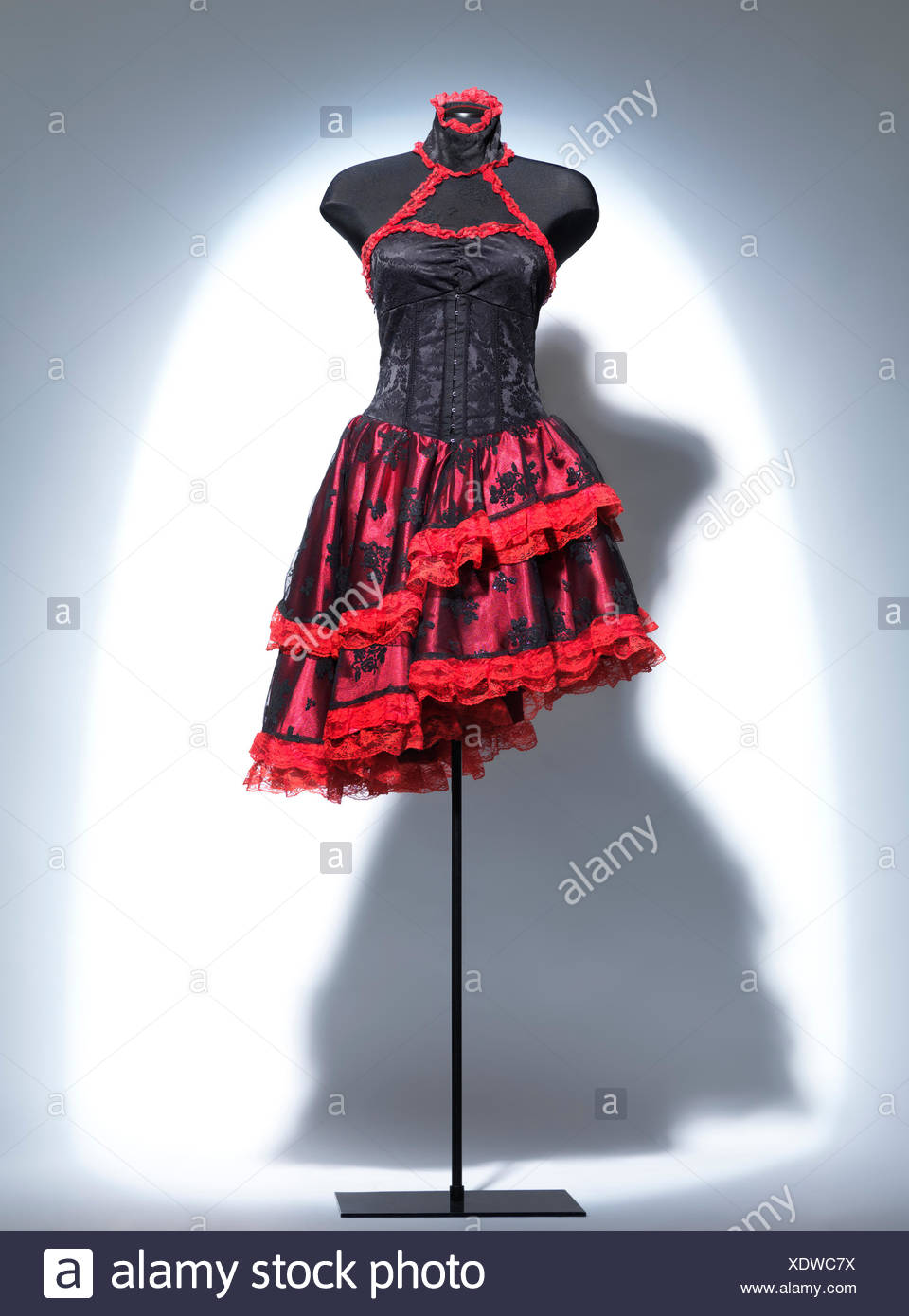 2e0dbd0a606 Vintage black and red gothic corset dress on a mannequin - Stock Image