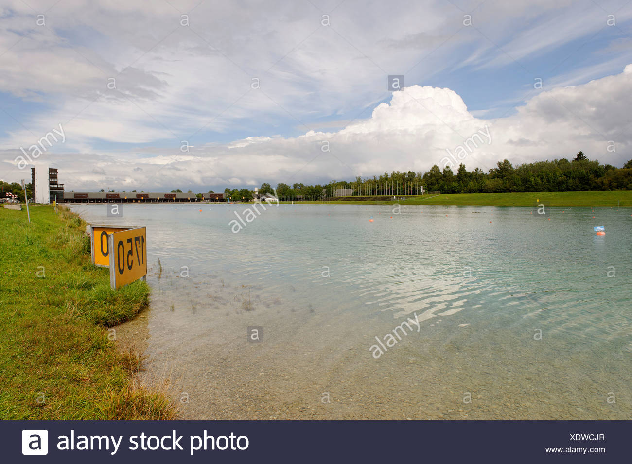Regatta area for Rowing races, Olympic games 1972, Oberschleissheim, Munich, Upper Bavaria, Germany, Europe Stock Photo