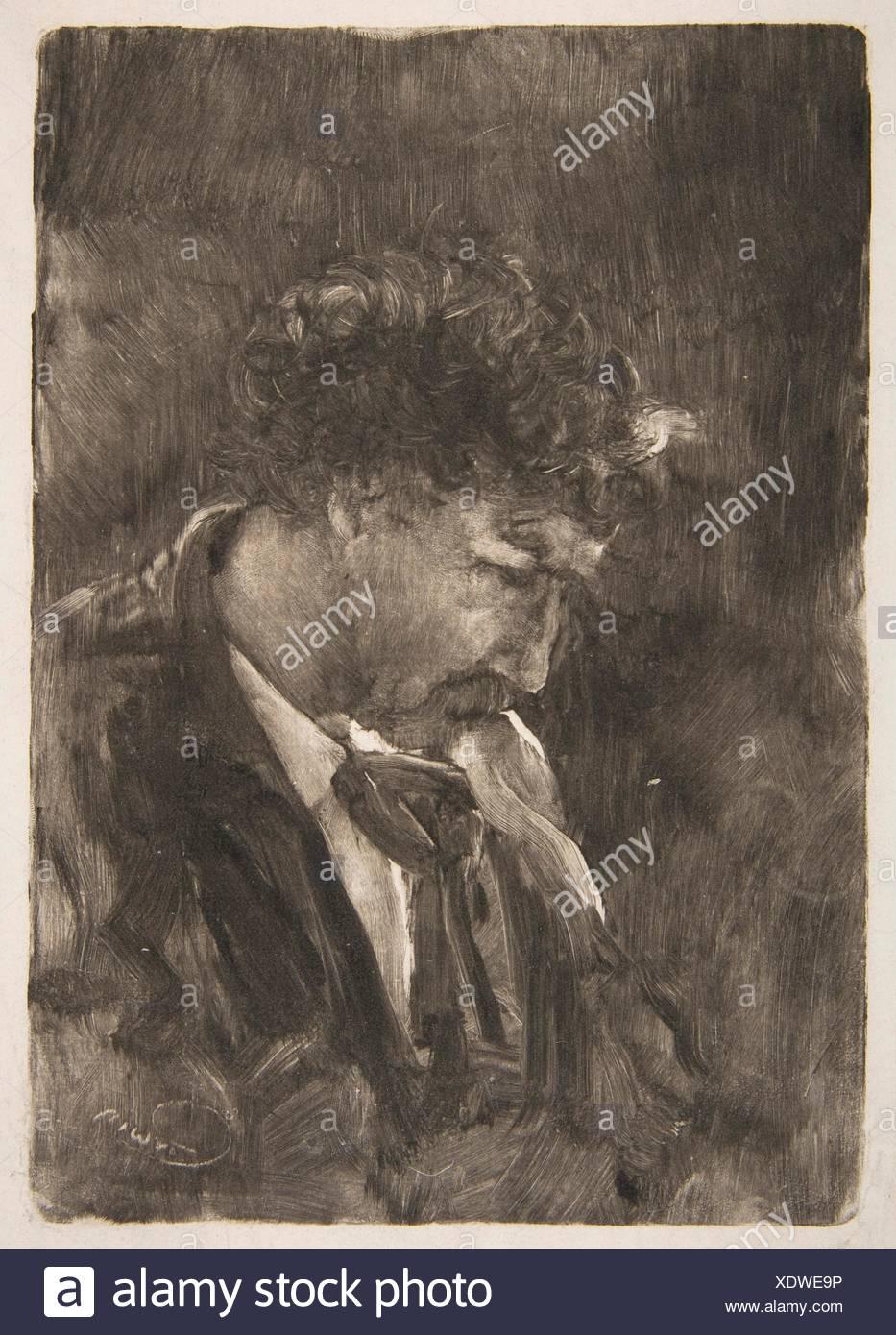 Portrait of James NcNeill Whistler. Artist: Charles Abel Corwin (American, Newburgh, New York 1857-1938 Chicago, Illinois); Sitter: James McNeill - Stock Image