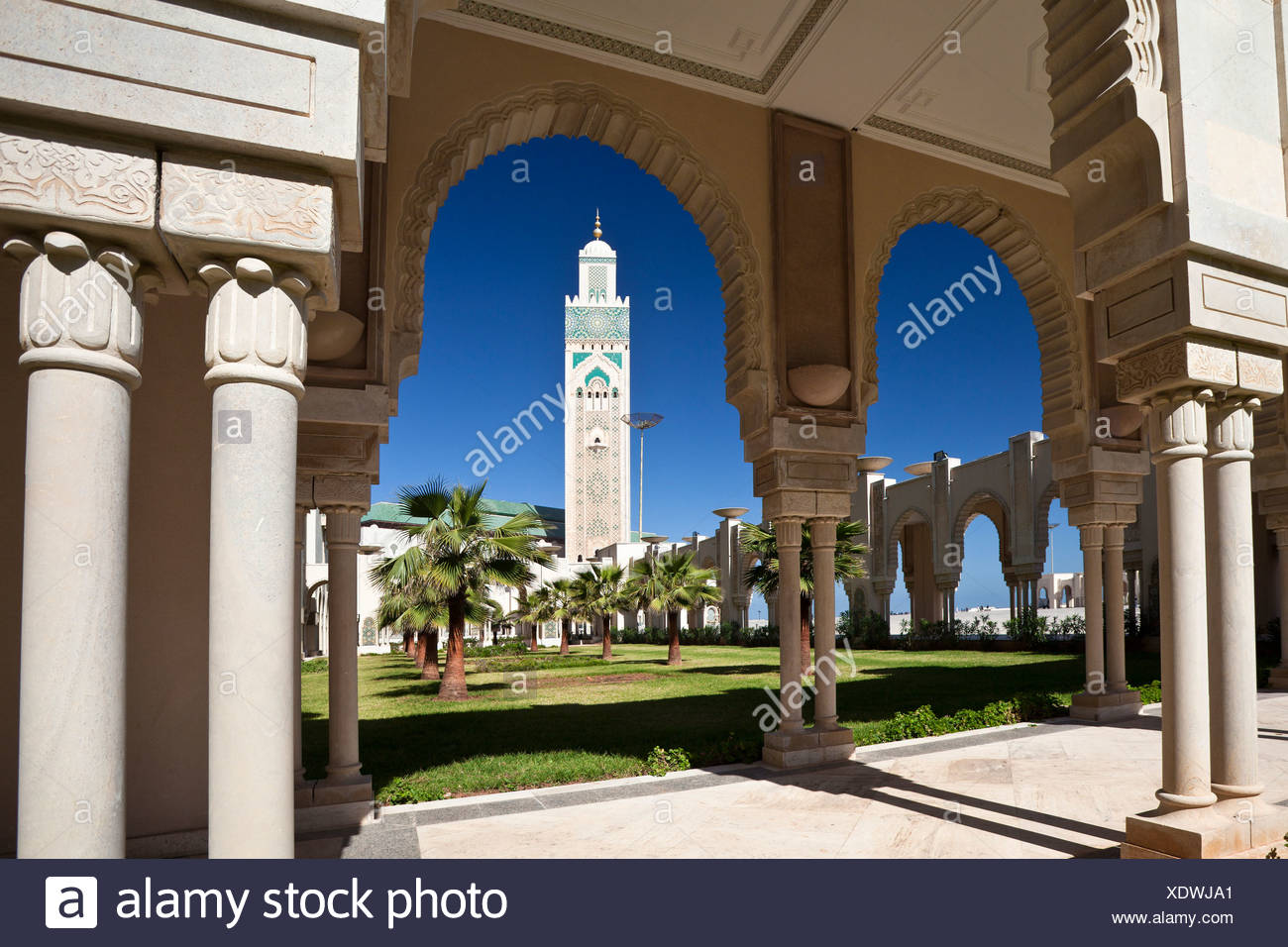 Morocco, North Africa, Africa, Casablanca, Hassan II, mosque, highest, top, minaret, 210 ms - Stock Image