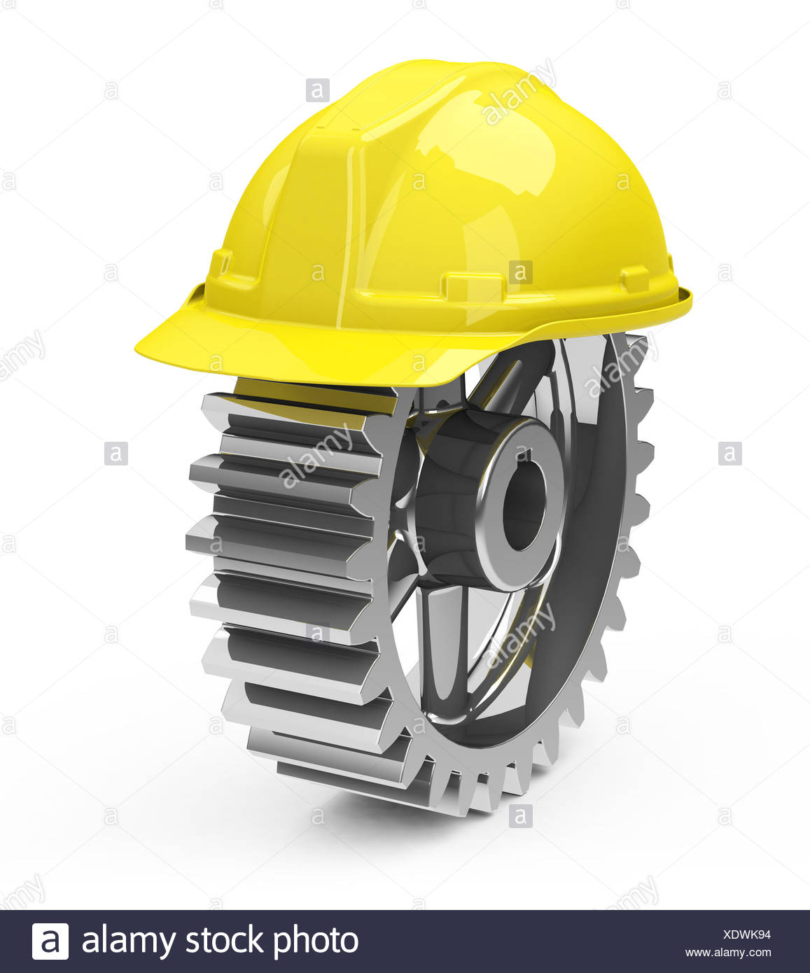 safety helmet and gearwheel - Stock Image