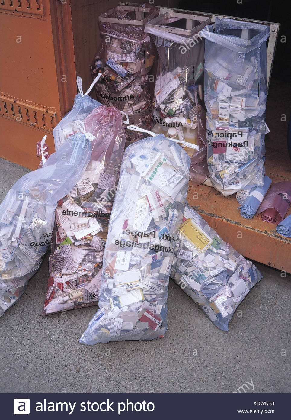 Hazardous wastes, bags, Old drugs, problem garbage, envelopes, instructions, garbage separation, environmental discharge, environment protection, recycling - Stock Image