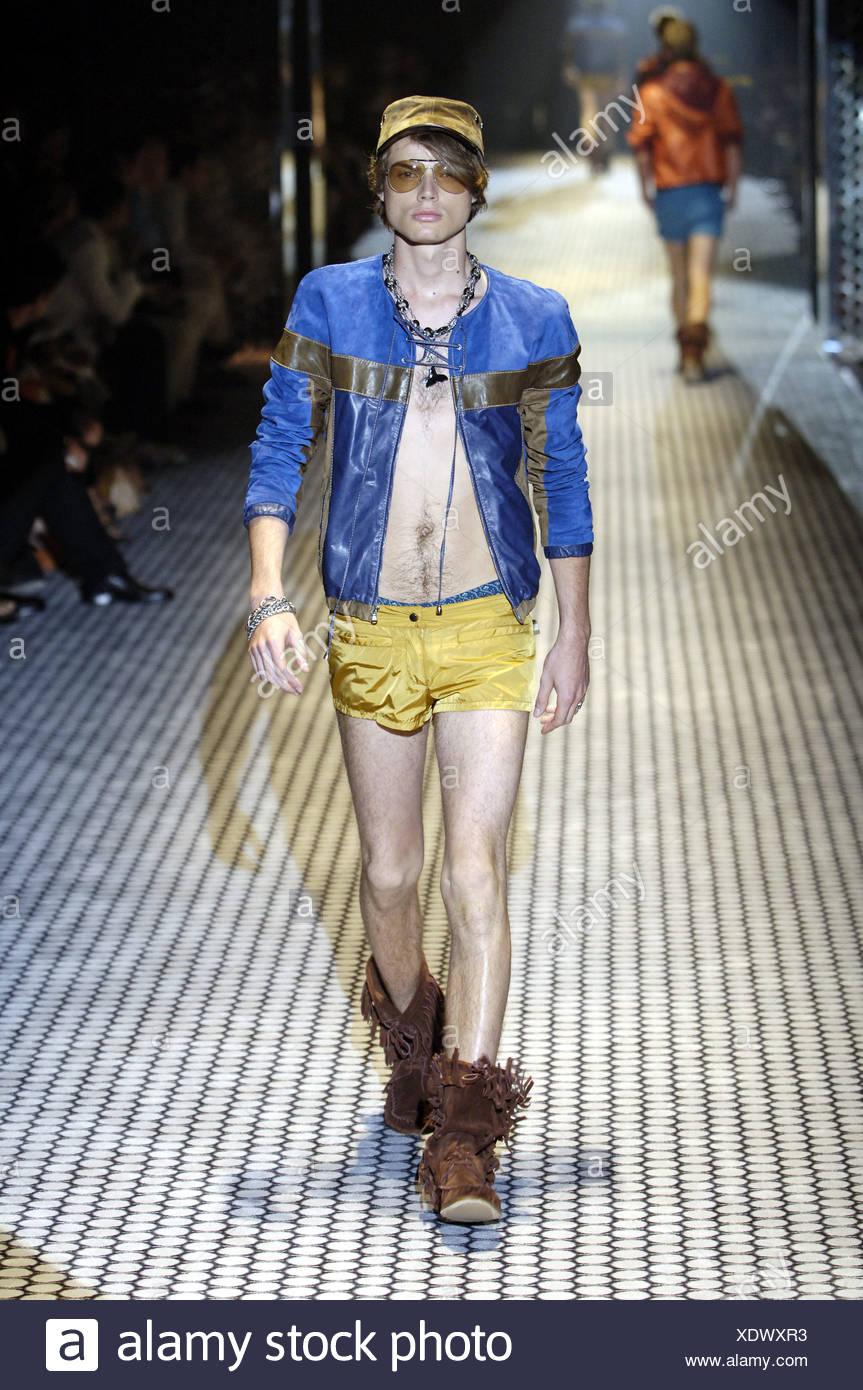 4f2f3c38a Gucci Milan Ready to Wear Menswear Spring Summer Shirtless brunette male  model walking down the runway