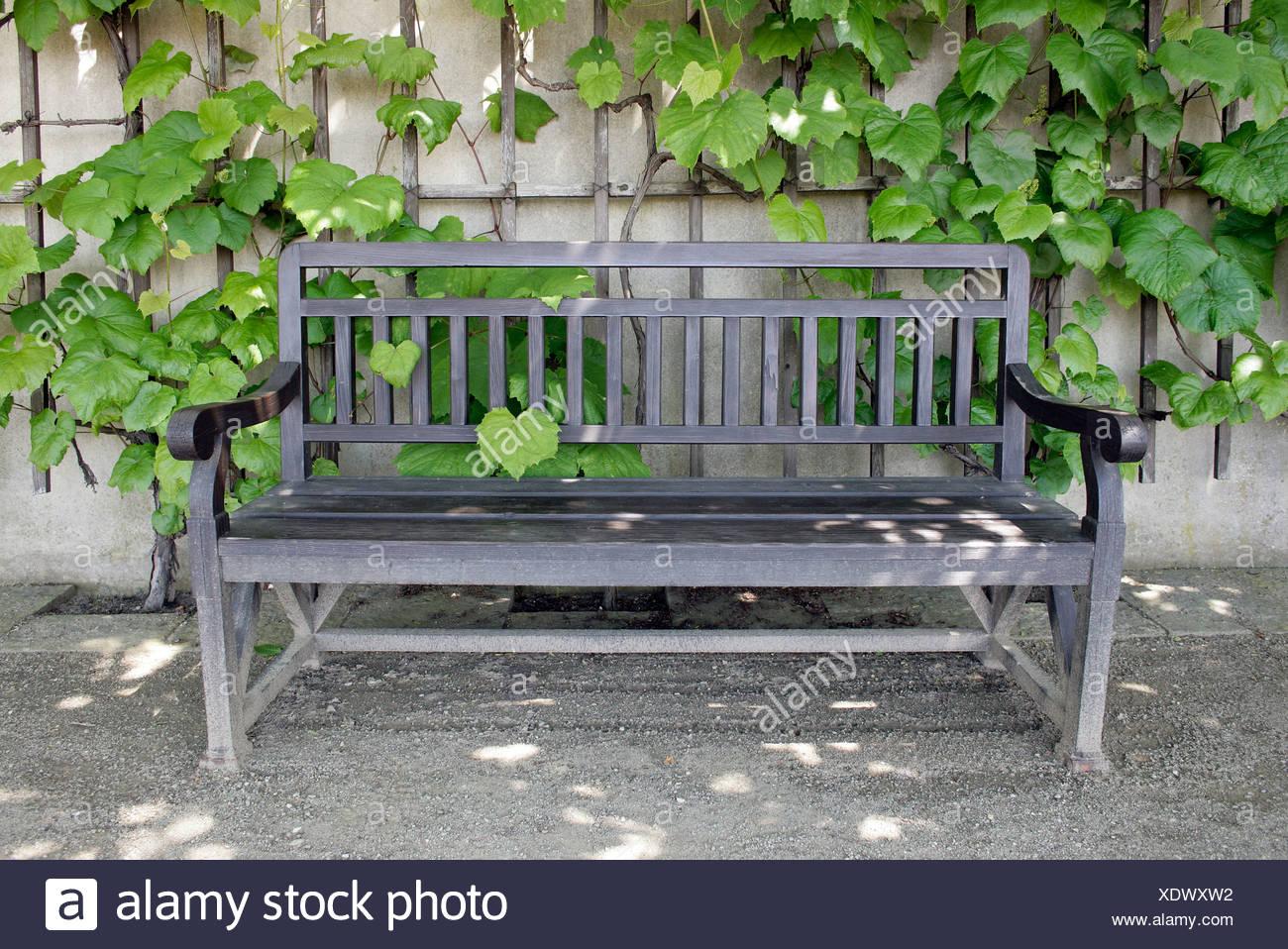 Bench in the royal vineyards, Mala Strana Gardens, Prague, Czech Republic, Europe Stock Photo