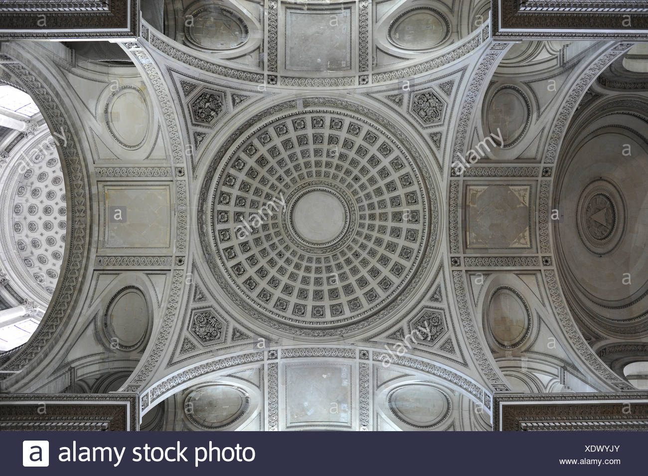 Interior dome, Panthéon, a secular mausoleum containing the remains of distinguished French citizens, Montagne Sainte-Geneviève - Stock Image
