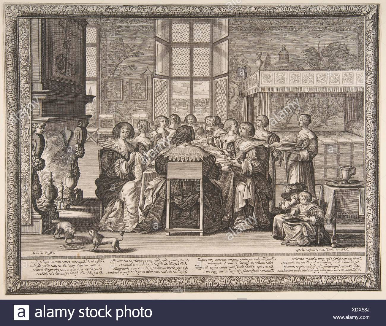 Wives at Table During the Absence of Their Husbands. Artist: Abraham Bosse (French, Tours 1602/1604-1676 Paris); Publisher: Jean I Leblond (French, - Stock Image