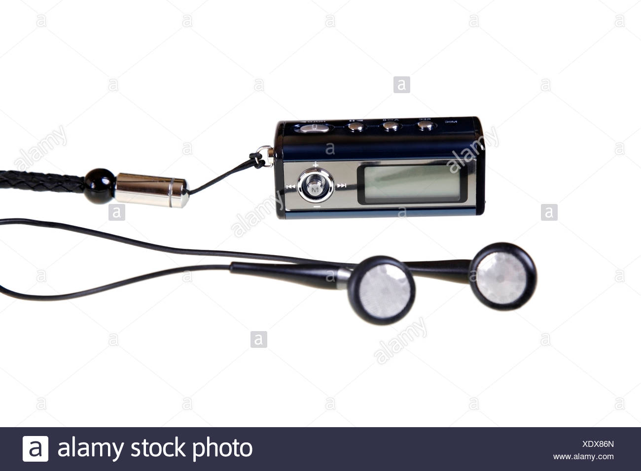 MP3 player, walkman with earphones (earbuds) and carrying strap, cutout - Stock Image