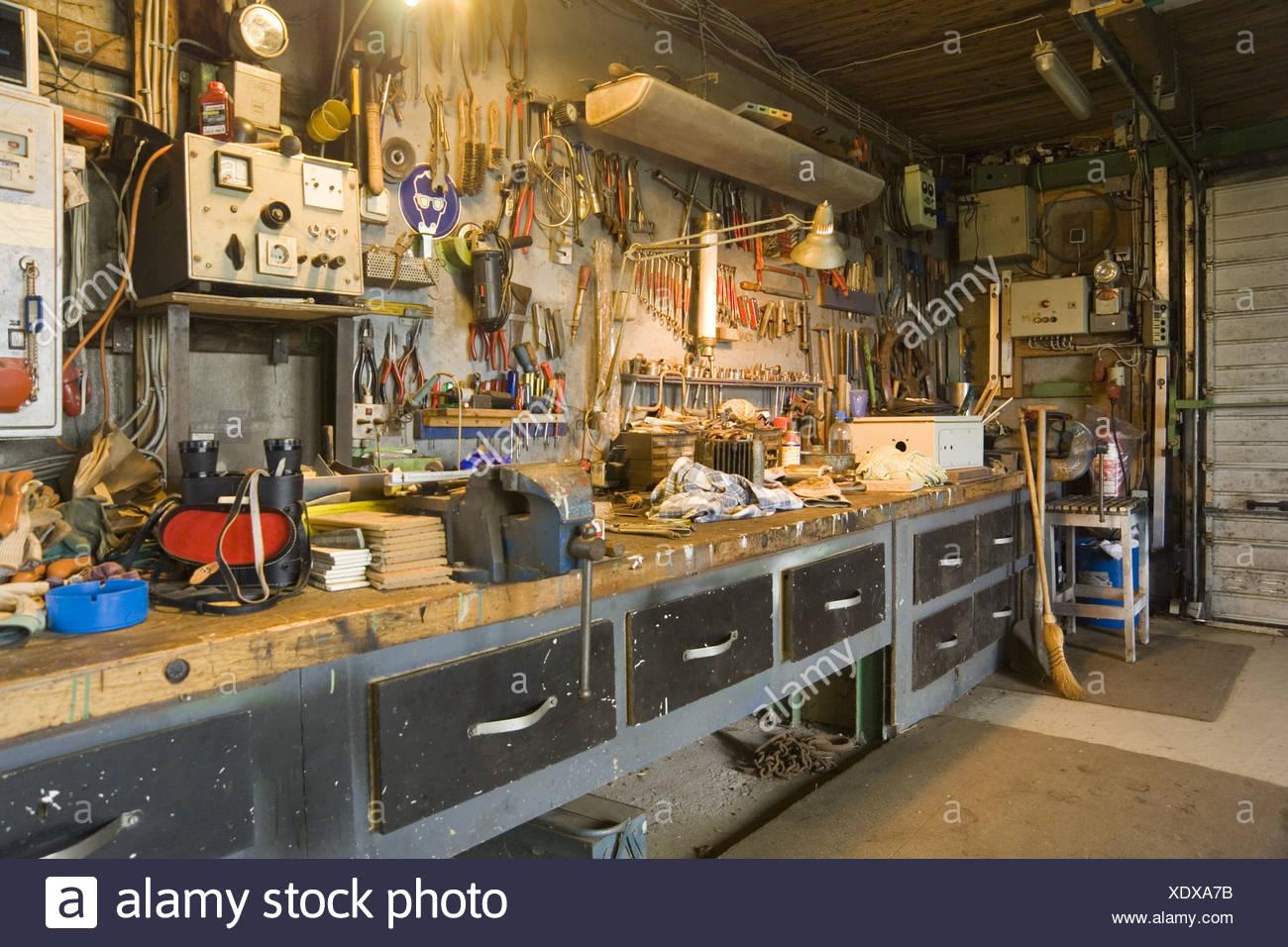 Interior Garage Hobby Workshop Stock Photo Alamy
