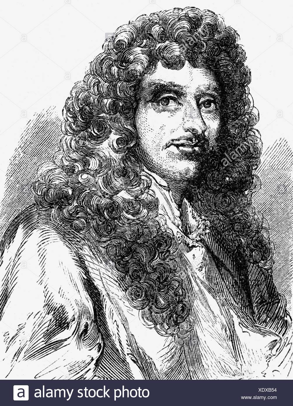 Huygens, Christiaan, 14.4.1629 - 8.7.1695, Dutch natural scientist, portrait, wood engraving, 19th century, Additional-Rights-Clearances-NA - Stock Image