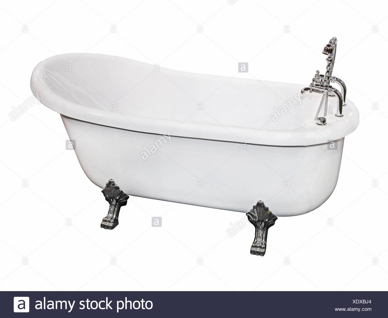 isolated, vintage, bath tub, tub, bathtub, retro, faucet, white ...