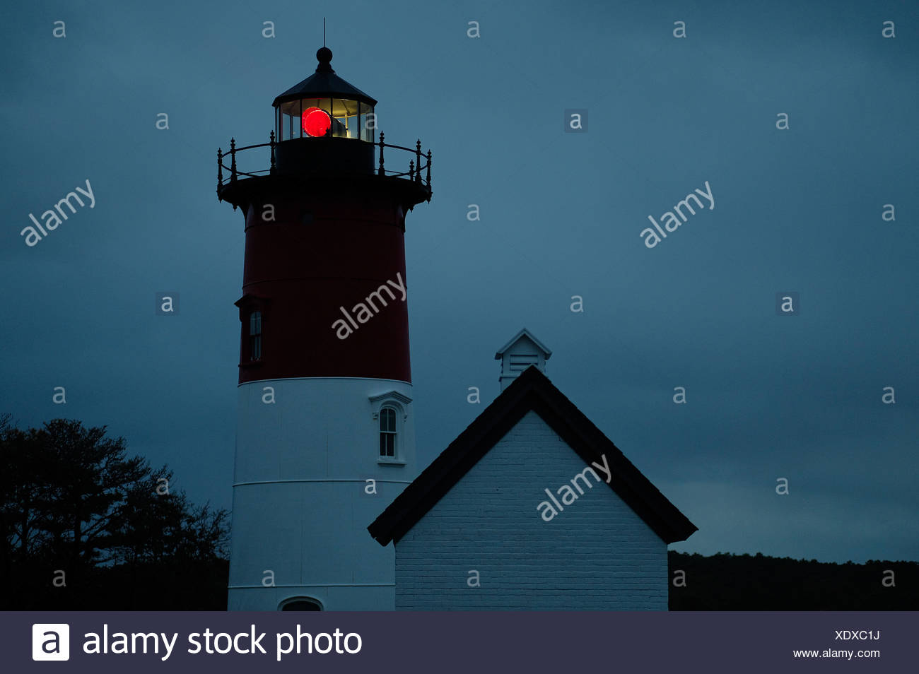 Nauset Light shines during a stormy night Cape Cod National Seashore Cape Cod Eastham USA - Stock Image