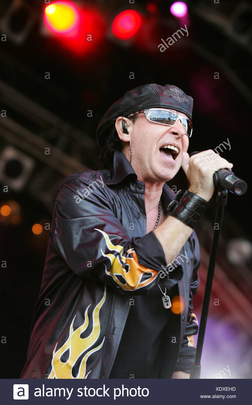 Klaus Meine, singer of the German rock band Scorpions, live at the Spirit of Music Open Air in the Uster football stadium near  - Stock Image