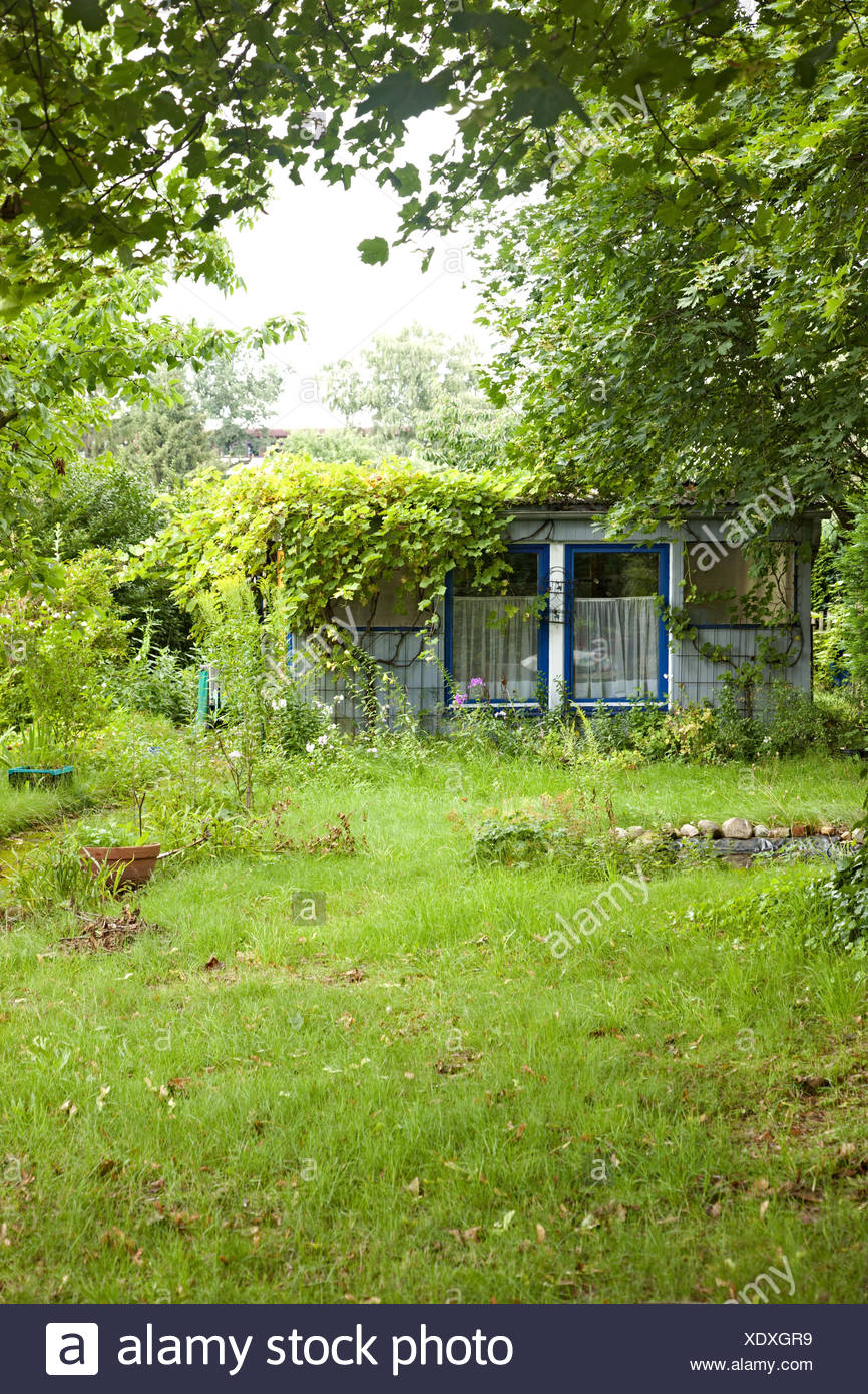 Summer house, garden, green, grass, - Stock Image