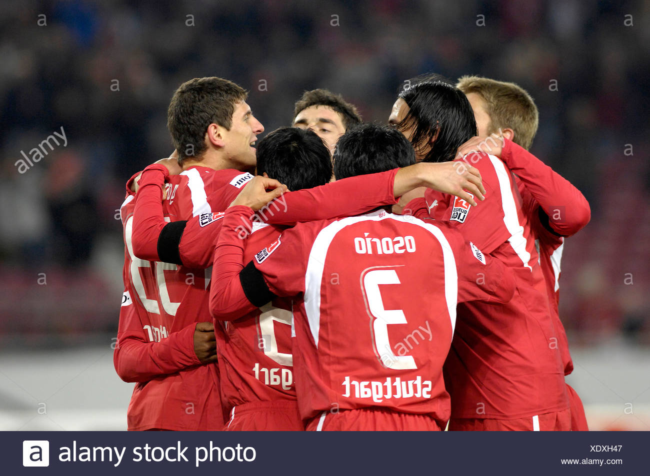 VfB Stuttgart players cheer after goal Stock Photo