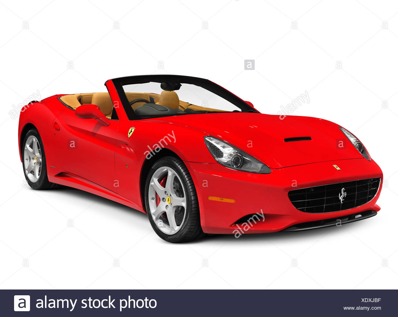 Red Ferrari California Grand Touring Hard Top Convertible Sports Car In Production From 2008