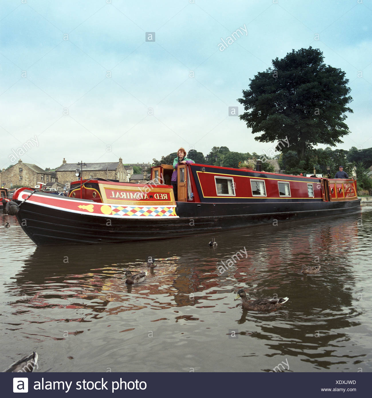 United Kingdom. England. Cheshire East. Middlewich. Narrowboat on canal. - Stock Image