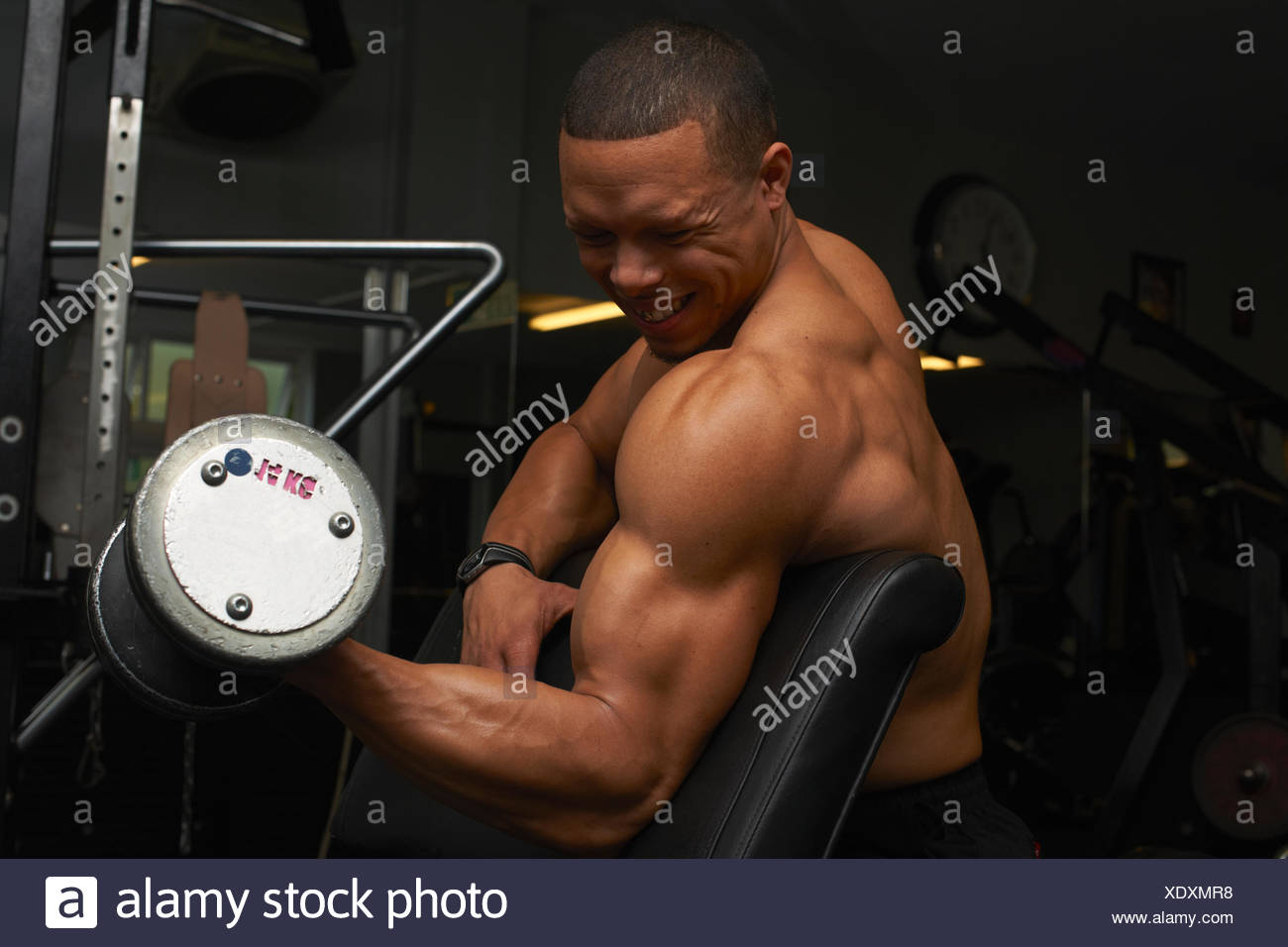 Mid adult man, lifting weights - Stock Image