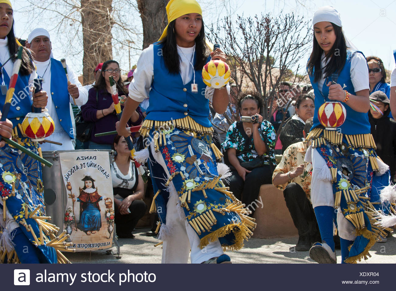 A local dance troupe performs a version of the Dance of the Matachines. - Stock Image