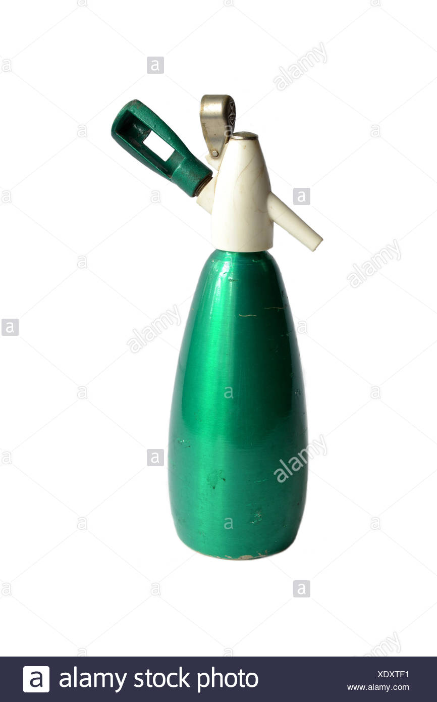 old green siphon on a white background - Stock Image