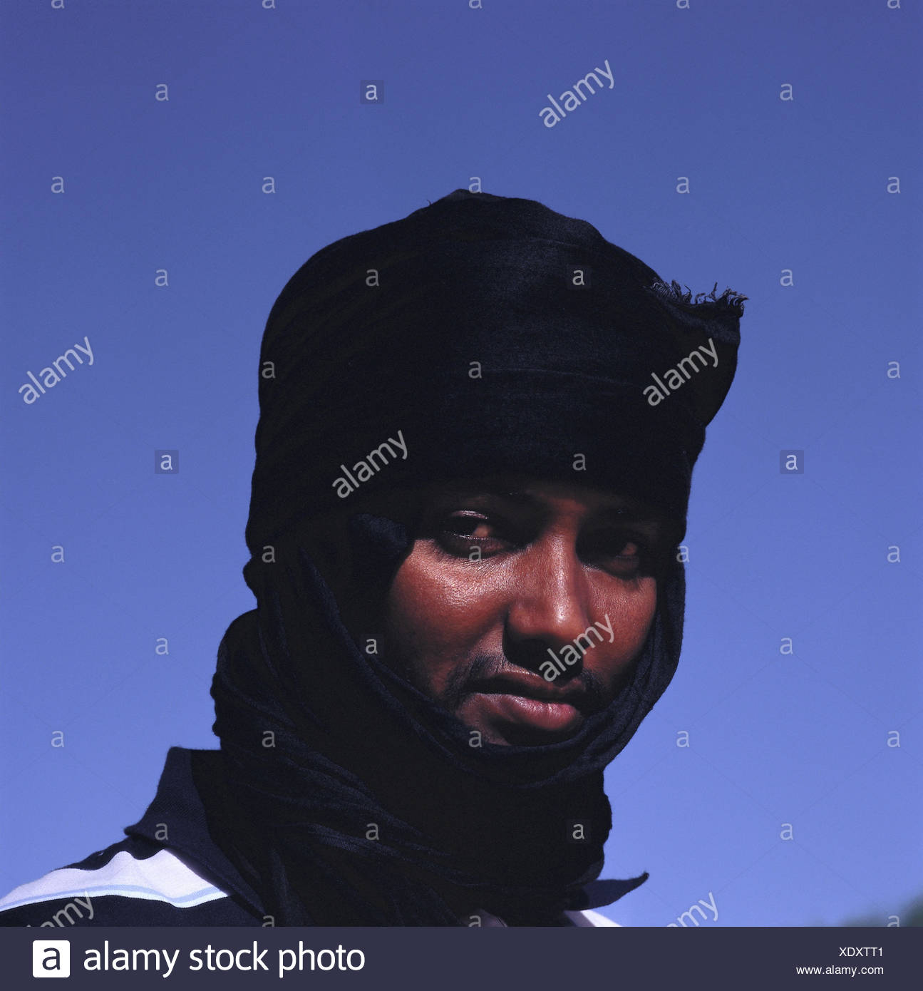 Mauritania, man, turban, portrait, Africa, West, Africa, person, Mauritanian, Moor, dark-skinned, Mauritanian, headgear, beard, moustache, side glance, heaven, outside, - Stock Image