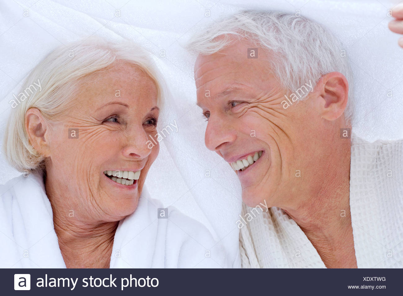 Germany, portrait of a senior couple in spa, close-up - Stock Image