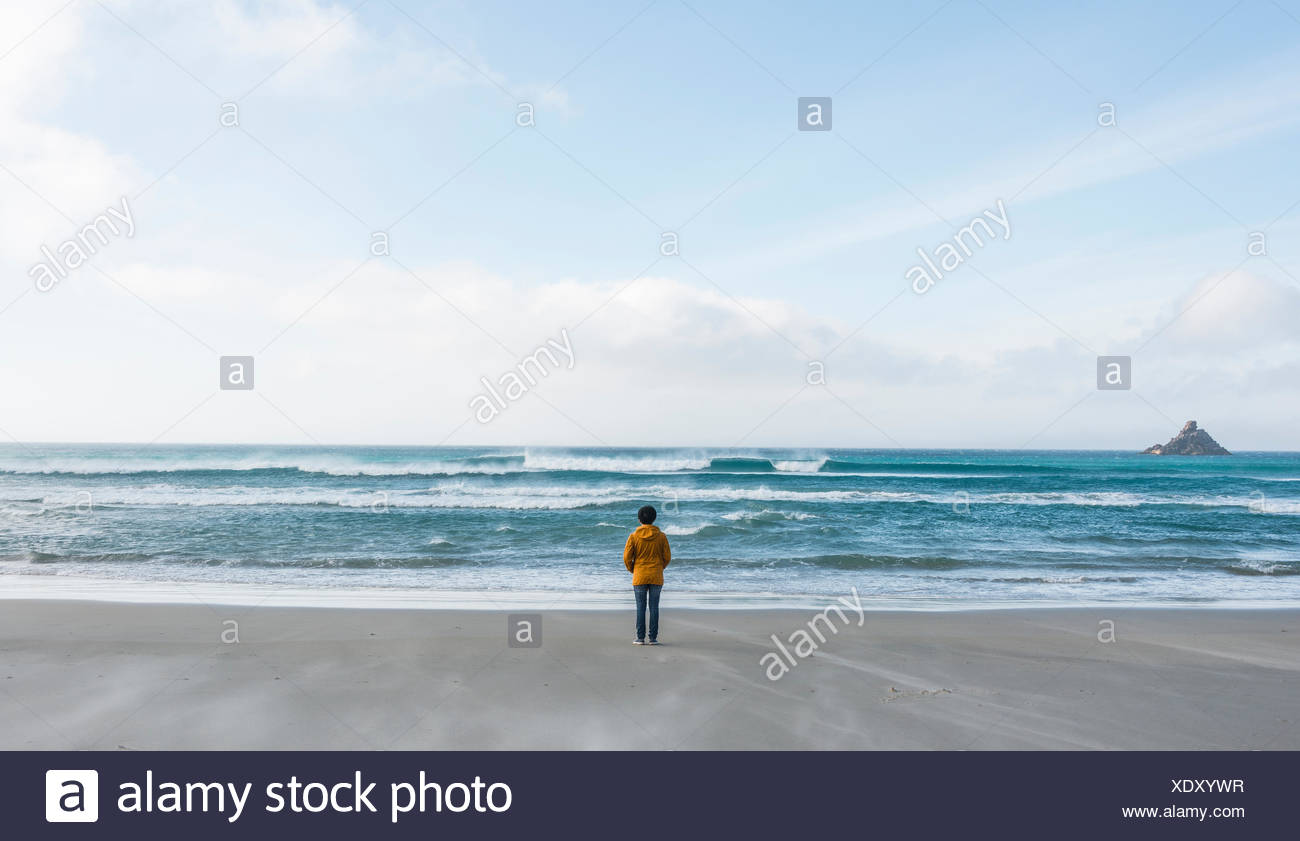 Lonely person standing by the sea, looking out into the distance, Sandfly Bay, Dunedin, Otago, South Island, New Zealand Stock Photo