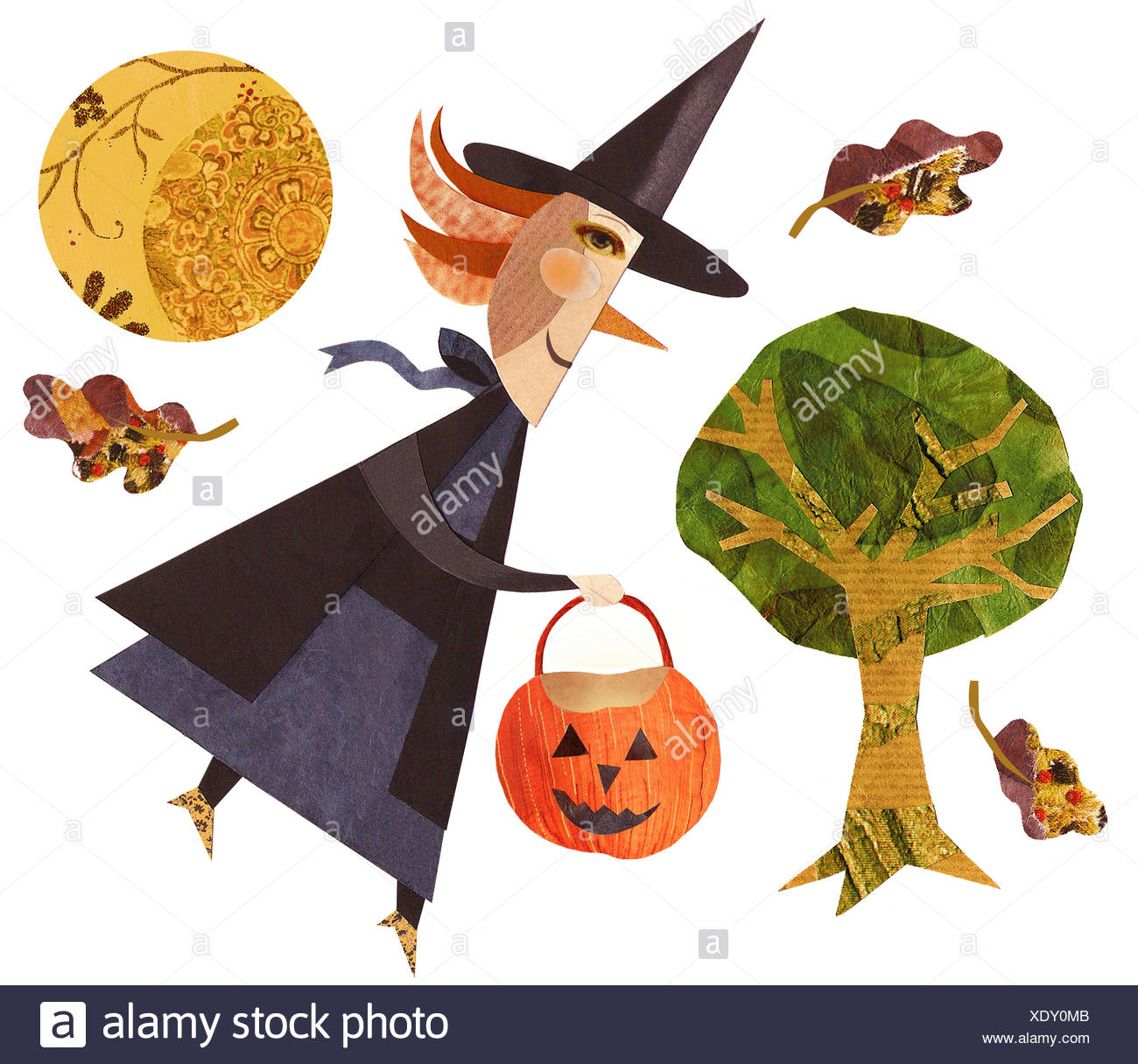 A Witch Holding Jack O Lantern With Full Moon In The Background