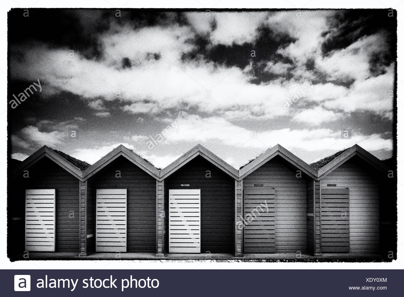 Beach Huts in a row at Blyth, Northumberland, England - Stock Image