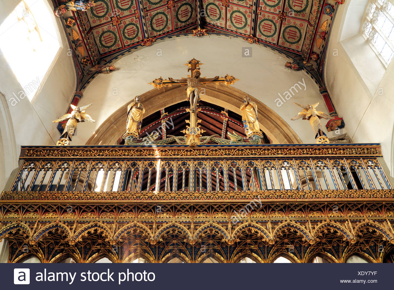 Eye, Suffolk. Rood screen, Loft and Vault, rebuilt by Sir Ninian Comper, 1925, England UK - Stock Image