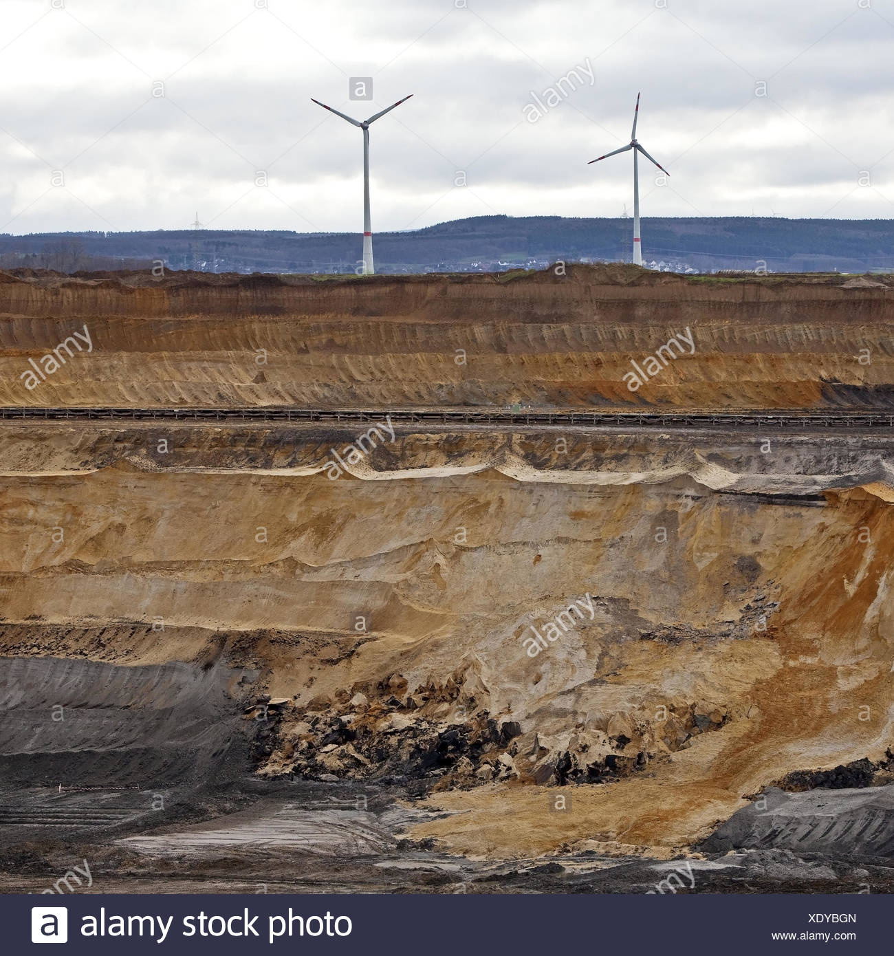 Wind turbines at brown coal surface mining Inden, North Rhine-Westphalia, Germany, Europe - Stock Image