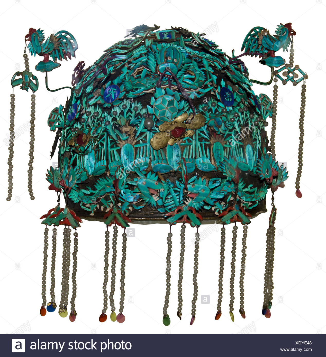Kingfisher feather headdress from China, Qing Dynasty 1644-1911, play album leaf.  Most sought after feathers came from Cambodia - Stock Image