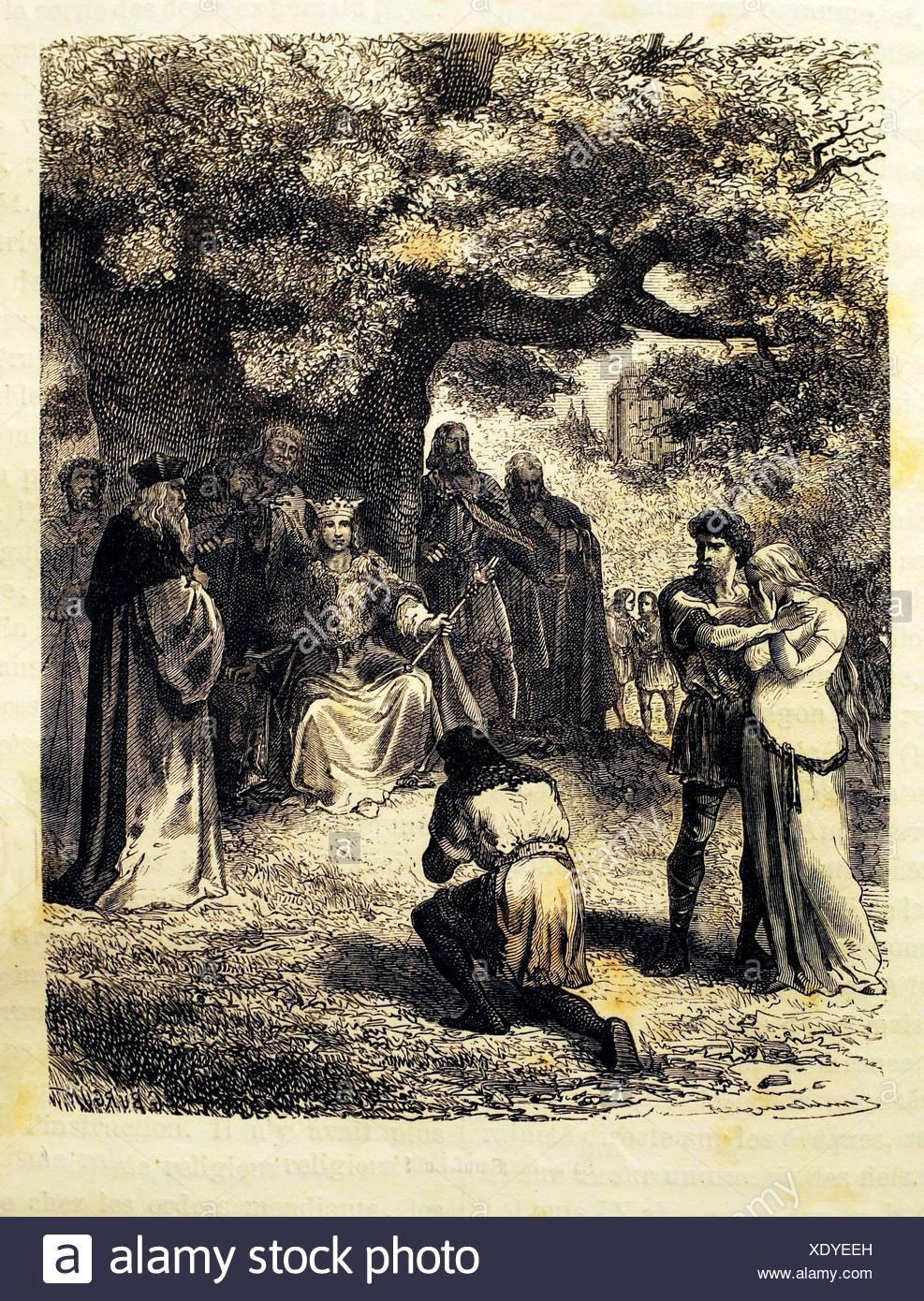 Saint Louis dispensing justice 12th century France - Stock Image