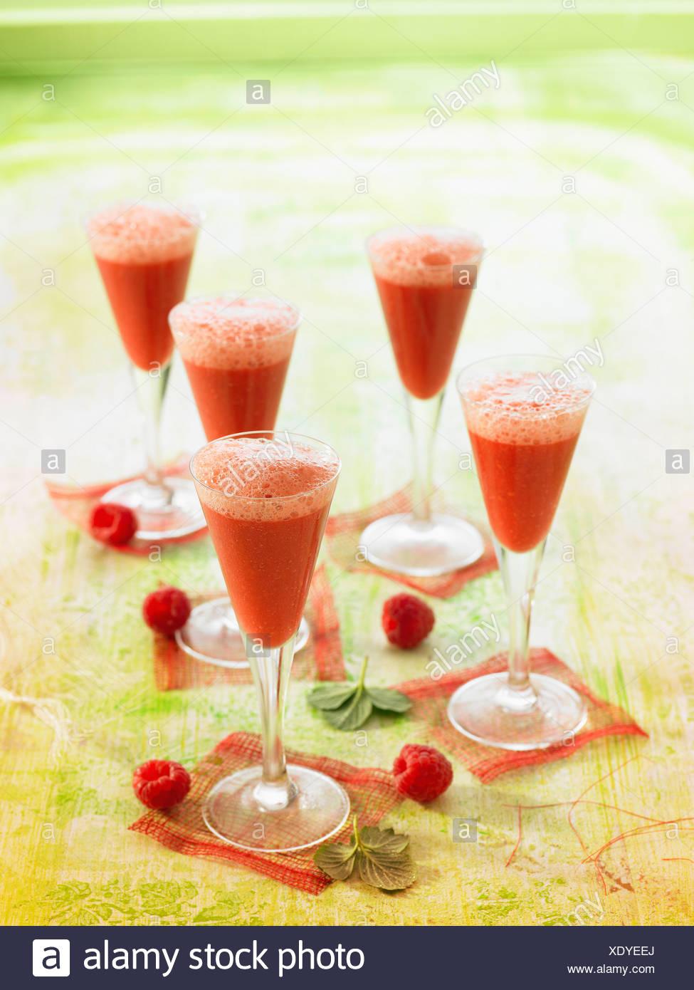 Raspberry,tomato and oil gazpacho - Stock Image