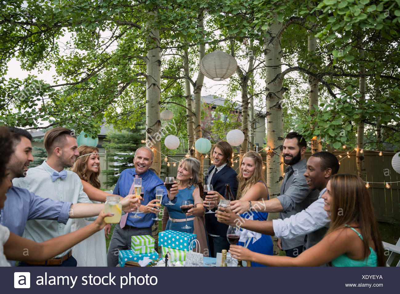 Friends family toasting bride groom backyard wedding reception - Stock Image