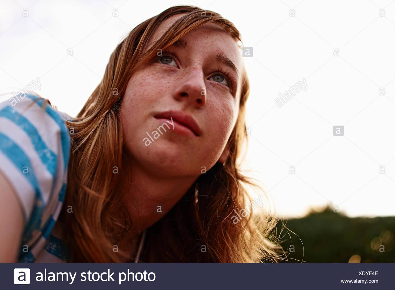 Portrait of teenage girl - Stock Image