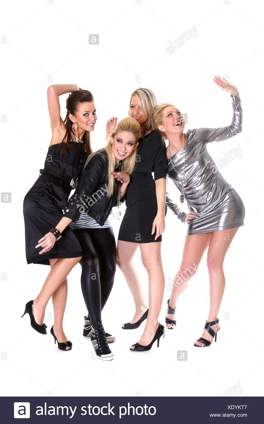 Four Attractive Girls Celebrating on White - Stock Image