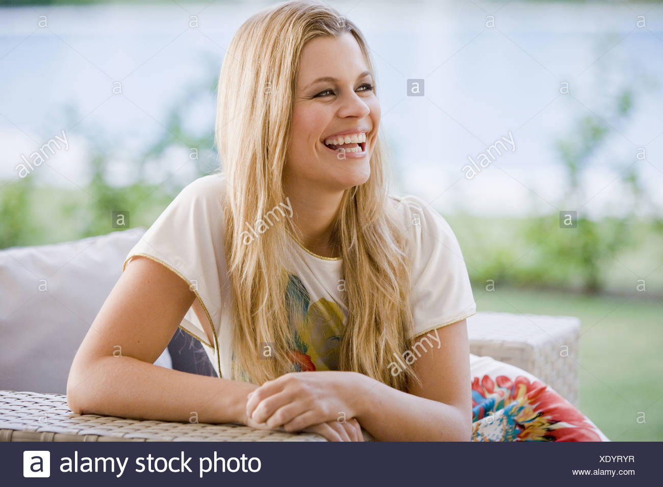 Young beautiful woman smiling - Stock Image