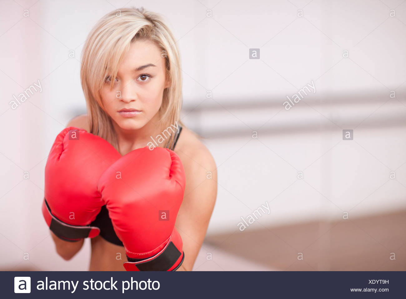 Portrait of young woman in boxing gloves - Stock Image