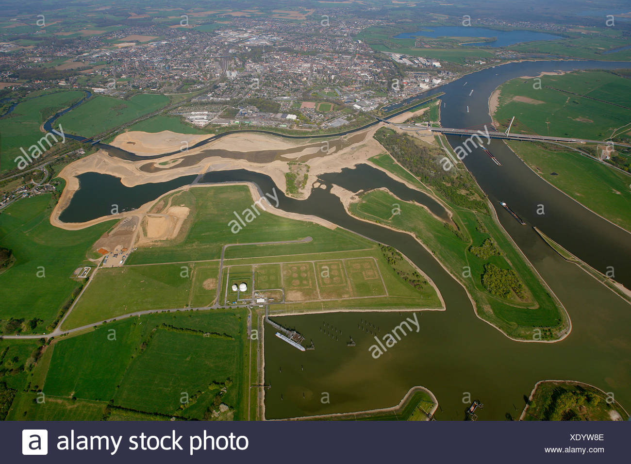 Aerial view, Lippe estuary, Lippe conversion, construction site, Rhine river, Lippe Association, Wesel, Ruhrgebiet region - Stock Image