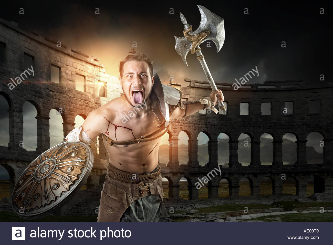 Gladiator Fight In Ancient Rome Stock Photos & Gladiator Fight In ...