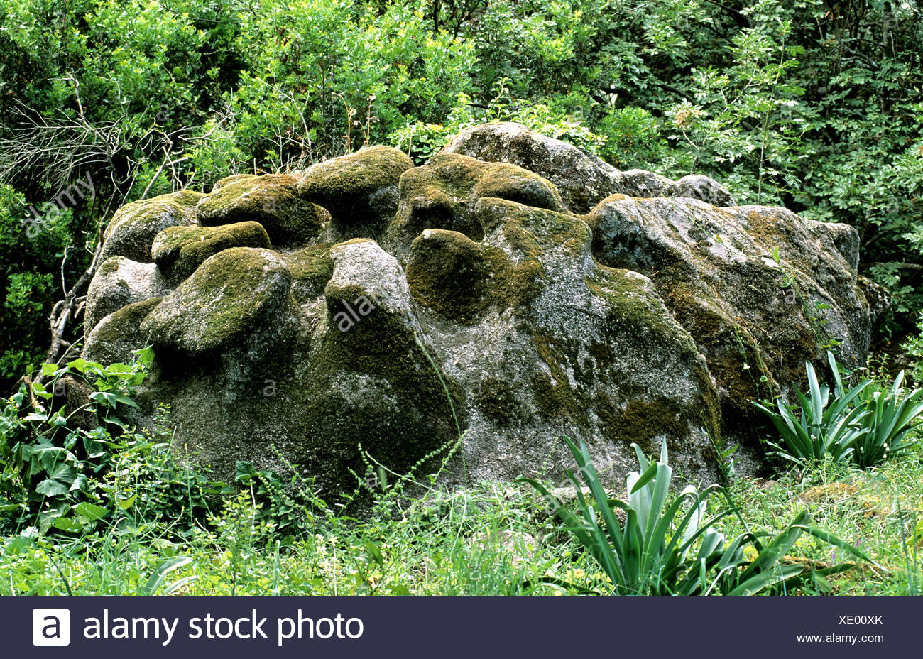 France Europe Corsica scenery near Filitosa prehistorically finding site boulder - Stock Image